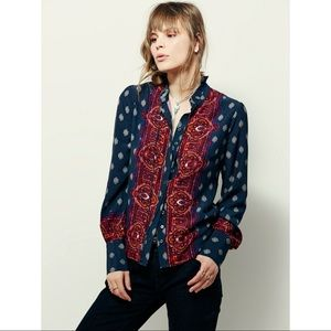Free People Blue Wishing Well Button Down